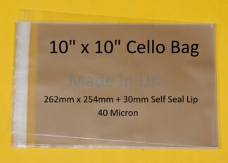 10 x 10 Cello Bags - 262mmx254mm