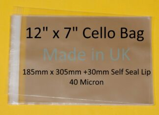 12 x 7 Cello Bags - 185mmx305mm