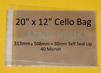20 x 12 Cello Bag - 313mx508mm