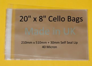 20 x 8 Cello Bags- 210mm x 510mm
