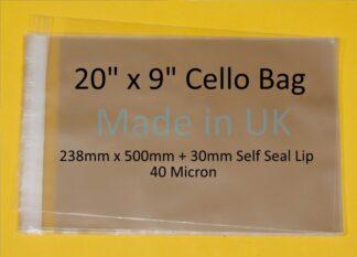 20 x 9 Cello Bags - 238mmx500mm