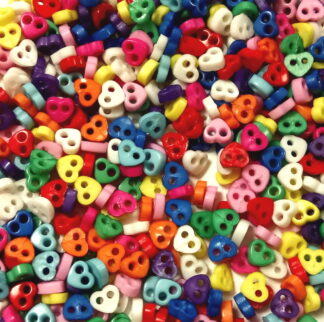 Mini Buttons 4mm Hearts Mixed