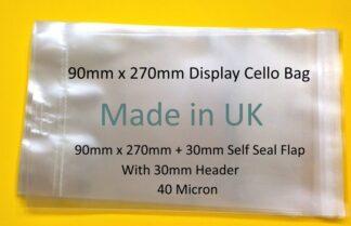 90 x 270mm Display Cello Bag