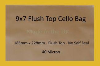 """9"""" x 7"""" Flush Top Cello Bags"""
