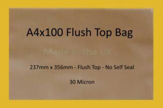 A4x100 Flush Top Cello Bags