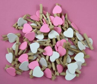 30mm Pink&White Mix Heart Pegs