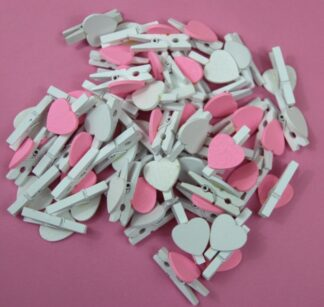 30mm Pink&White Mix White Pegs