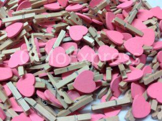 30mm Pink Love Heart Pegs