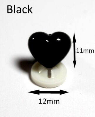 Black 12 x 11mm Heart Noses