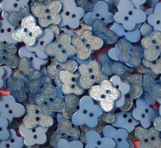 Blue Glitter Butterfly Buttons