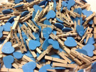 30mm Blue Love Heart Pegs