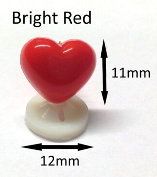 Bright Red 12 x 11mm Heart Noses