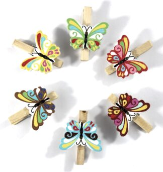 Mini Natural Pegs With Butterfly