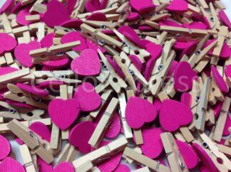 30mm Cerise Love Heart Pegs
