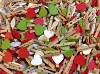 30mm Christmas Mix Heart Pegs