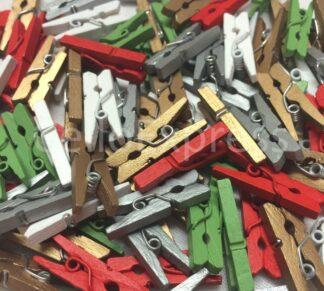 25mm Xmas Mix 2 Mini Wooden Pegs