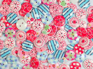 15mm Wooden Printed Ditsy Dotty Buttons
