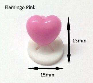 Flamingo Pink 15x13mm Heart Nose