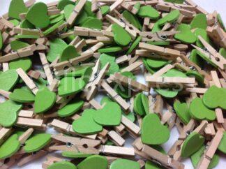 30mm Green Love Heart Pegs