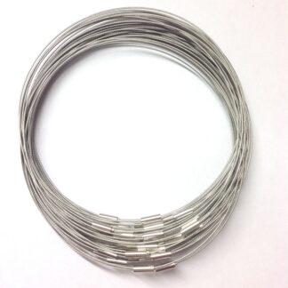 Grey Plain Clasp Wire Necklace