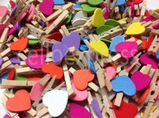 30mm love heart natural mixed pegs celloexpress