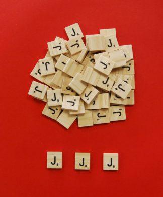 Letter 'J' Scrabble Wooden Tiles