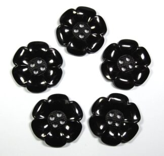 Black Large Flower Buttons