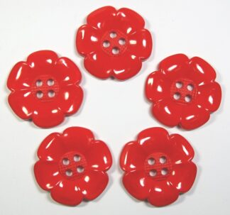 Red Large Flower Buttons