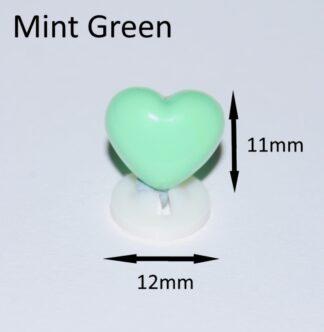 Mint Green 12 x 11mm Heart Noses