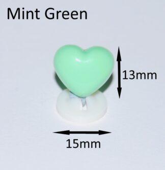 Mint Green 15 X 13mm Heart Noses