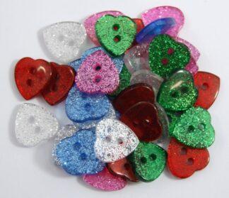 Glitter Heart Buttons