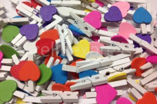 Mini White Wooden Loveheart Pegs