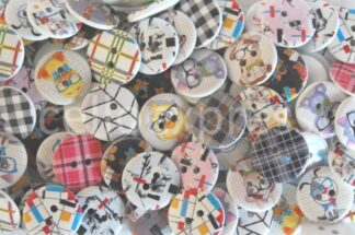 20mm Wooden Printed Buttons