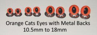 Orange Cats Eyes Metal Backs
