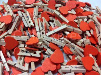 30mm Orange Love Heart Pegs