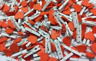 30mm Orange Loveheart White Pegs