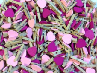 30mm Pink Mix Hearts Wooden Pegs