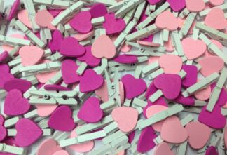30mm Pink Mix Hearts White Pegs