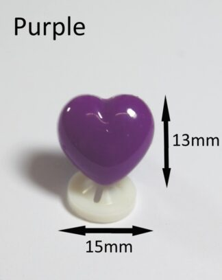 Purple 15 x 13mm Heart Noses