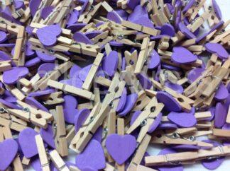 30mm Purple Love Heart Pegs