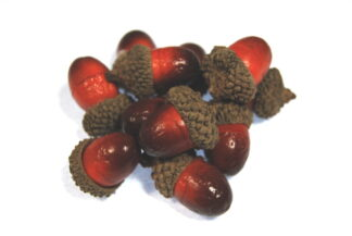 red and brown artificial acorns celloexpress