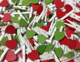 30mm Red & Green Heart White Peg