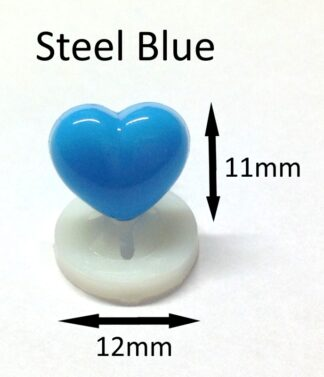 Steel Blue 12 x 11mm Heart Noses