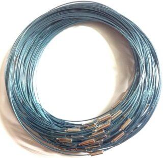 Steel Blue Plain Clasp Necklaces