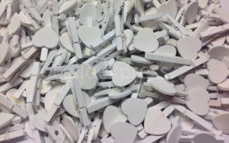 30mm White Loveheart White Pegs