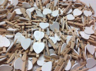 30mm White Love Heart Pegs