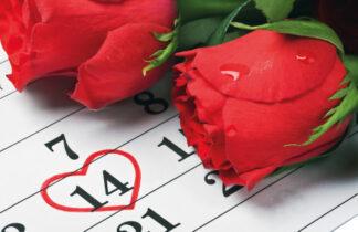 Valentines 2 Roses Calendar Card