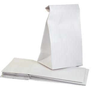 White 4.25 x 8.5 inch Kraft Block Bottom Paper Bags celloexpress