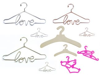 Wooden, Metal, and Plastic Doll Clothes Hangers