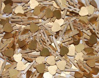 Gold Wooden Heart Pegs celloexpress